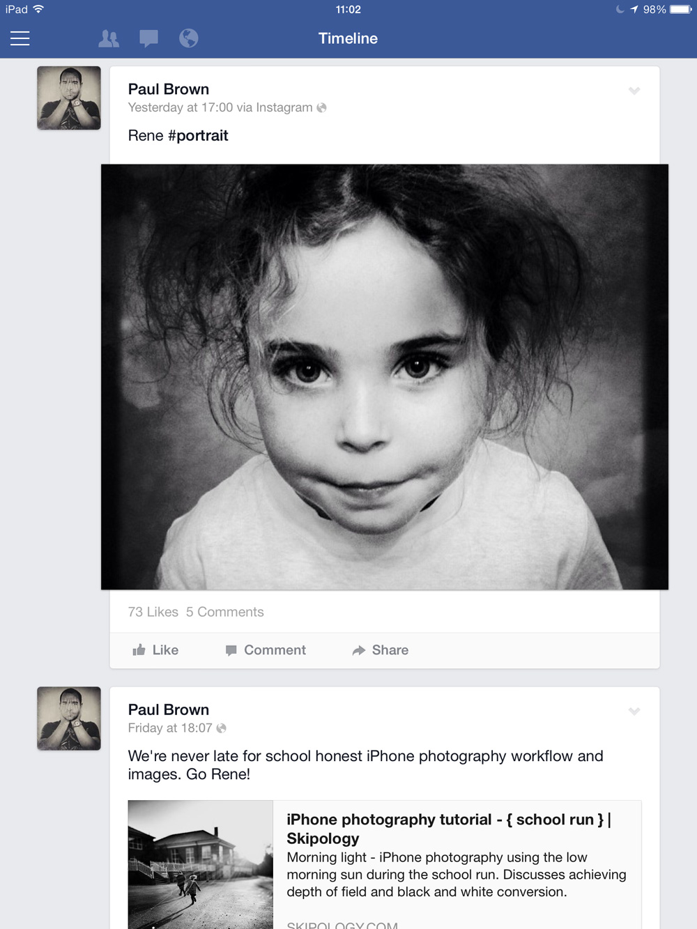 iPhone photography - Facebook profile timeline